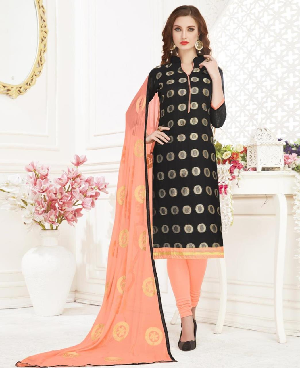 Embroidered Banarasi Silk Black Straight Cut Salwar