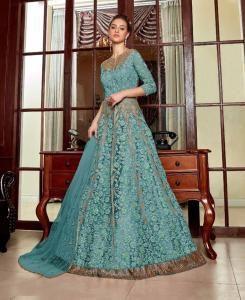 Sequins Net Abaya Style Salwar in Sky Blue