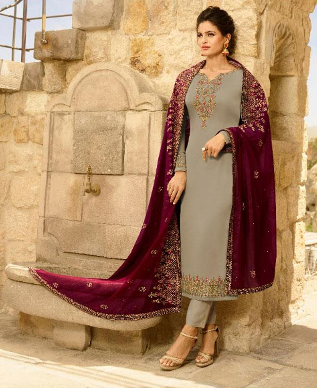 Embroidered Georgette Gray Straight Cut Salwar