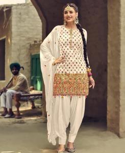 Thread Georgette Patiyala Suit Salwar in White