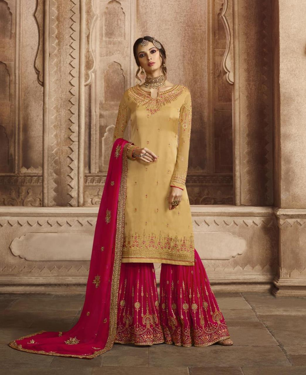 Embroidered Georgette Beige Palazzo Suit Salwar