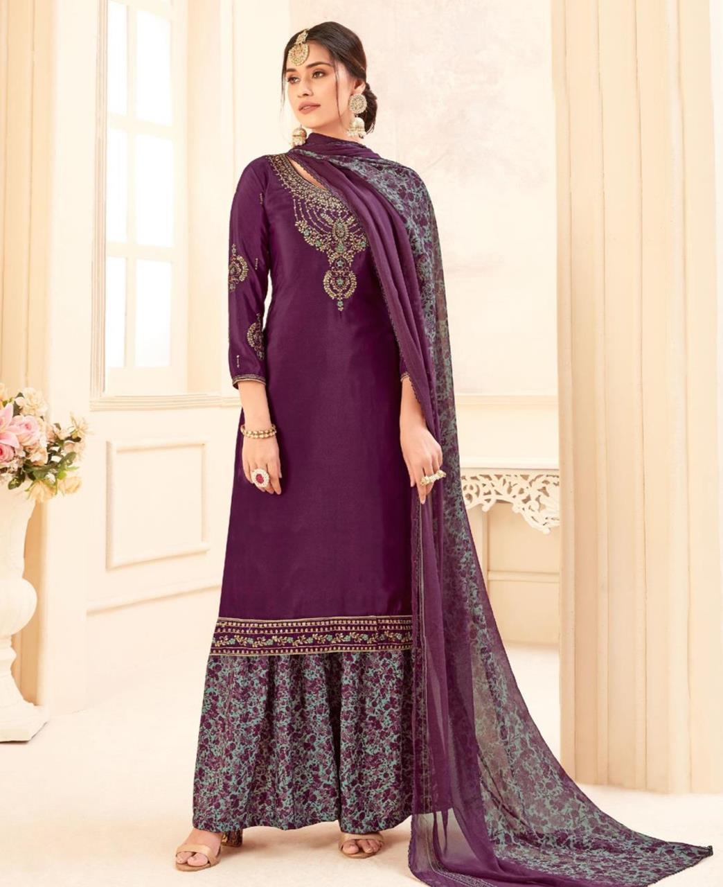 Printed Georgette Straight cut Salwar Kameez in Purple