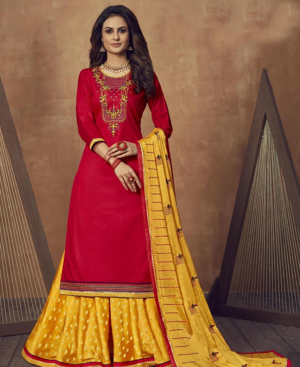 Zari Cotton Abaya Style Salwar in Red