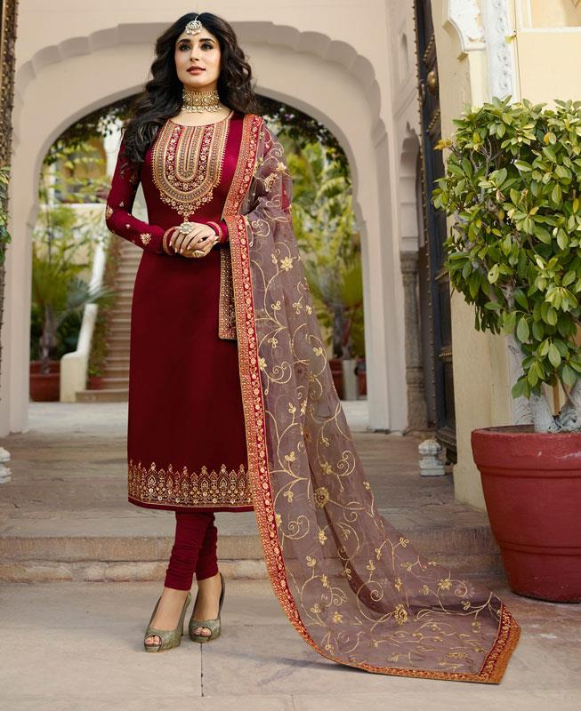 Embroidered Georgette Straight cut Salwar Kameez in Red