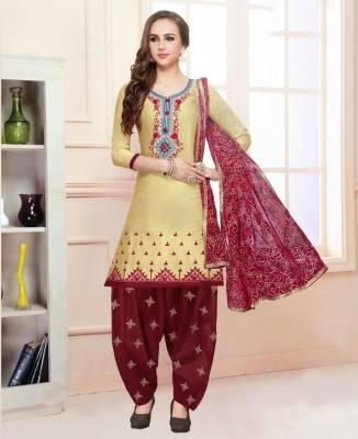 Printed Cotton Yellow Patiyala Salwar Kameez