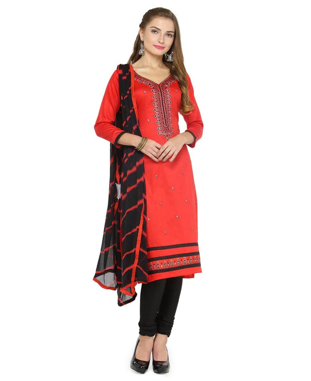 Embroidered Satin Red Straight Cut Salwar