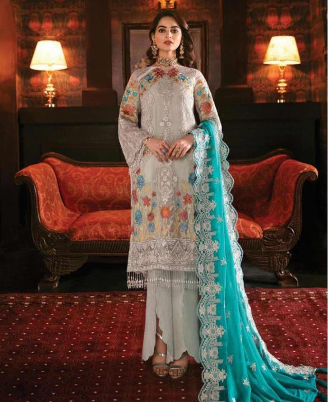 Embroidered Georgette Abaya Style Salwar in Off White
