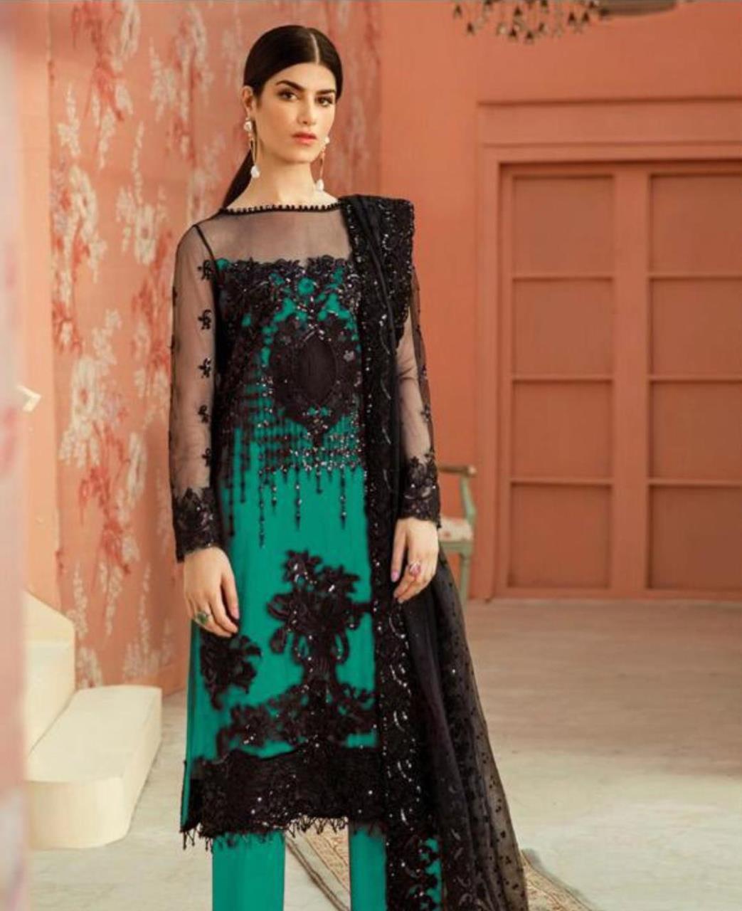 Thread Net Straight cut Salwar Kameez in Sea Green  ,  Black