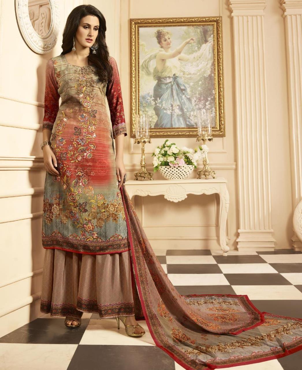 Printed Crepe Brown Palazzo Suit Salwar Kameez