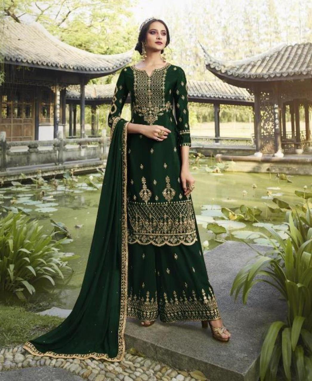 HandWorked Georgette Straight cut Salwar Kameez in Green