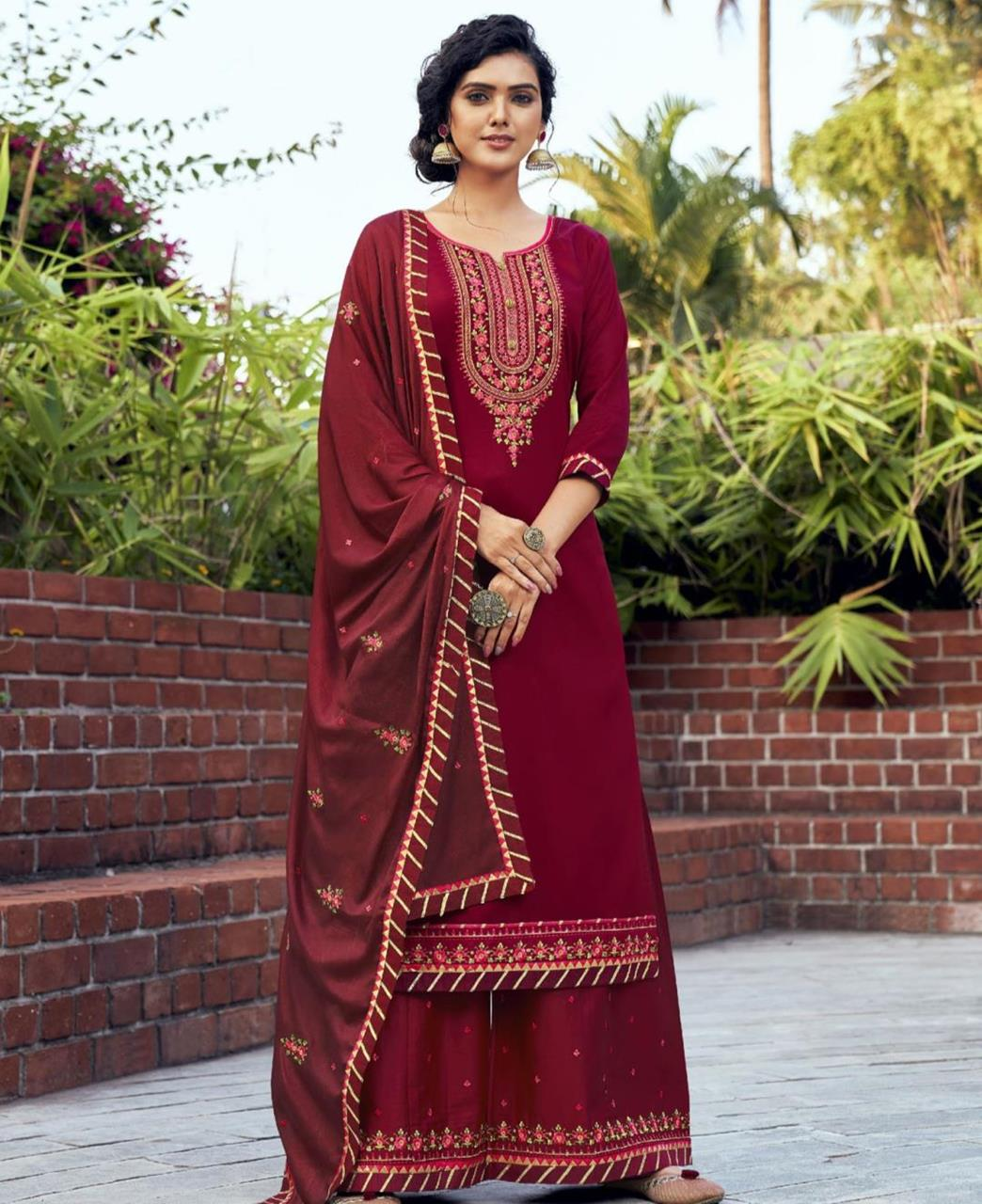 Embroidered Cotton Straight cut Salwar Kameez in Maroon