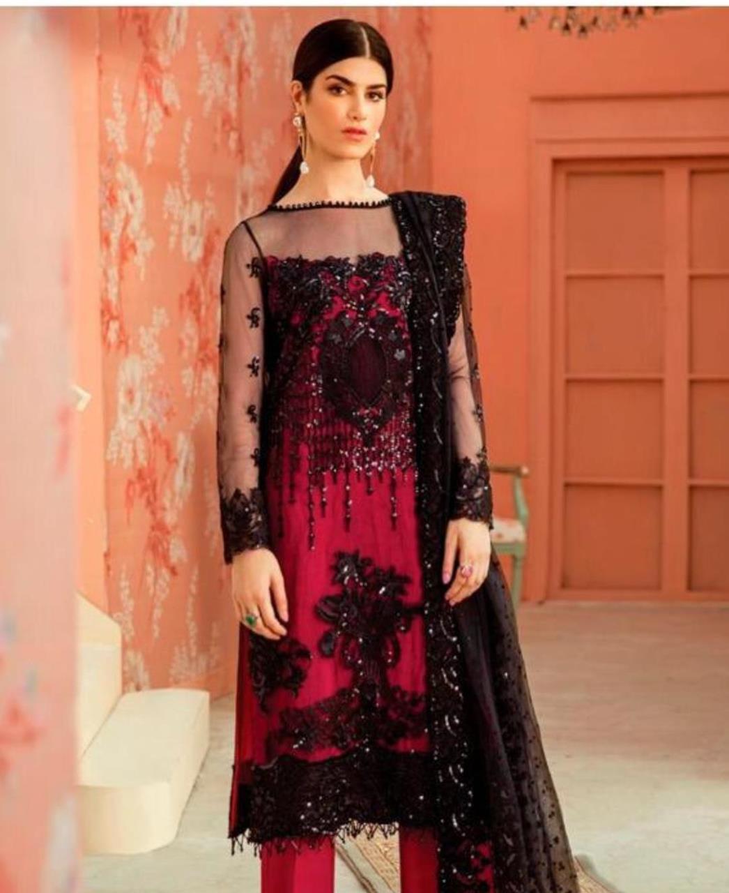 Thread Net Straight cut Salwar Kameez in Rose Pink  ,  Black
