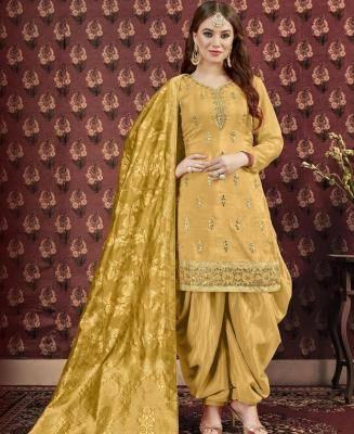 Embroidered Art Silk Yellow Patiyala Suit Salwar