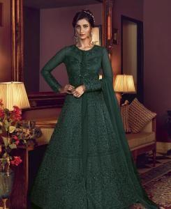 Sequins Silk Abaya Style Salwar in Green