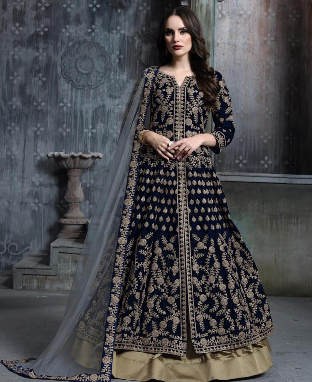 Embroidered Velvet Navyblue Abaya Style Salwar Kameez