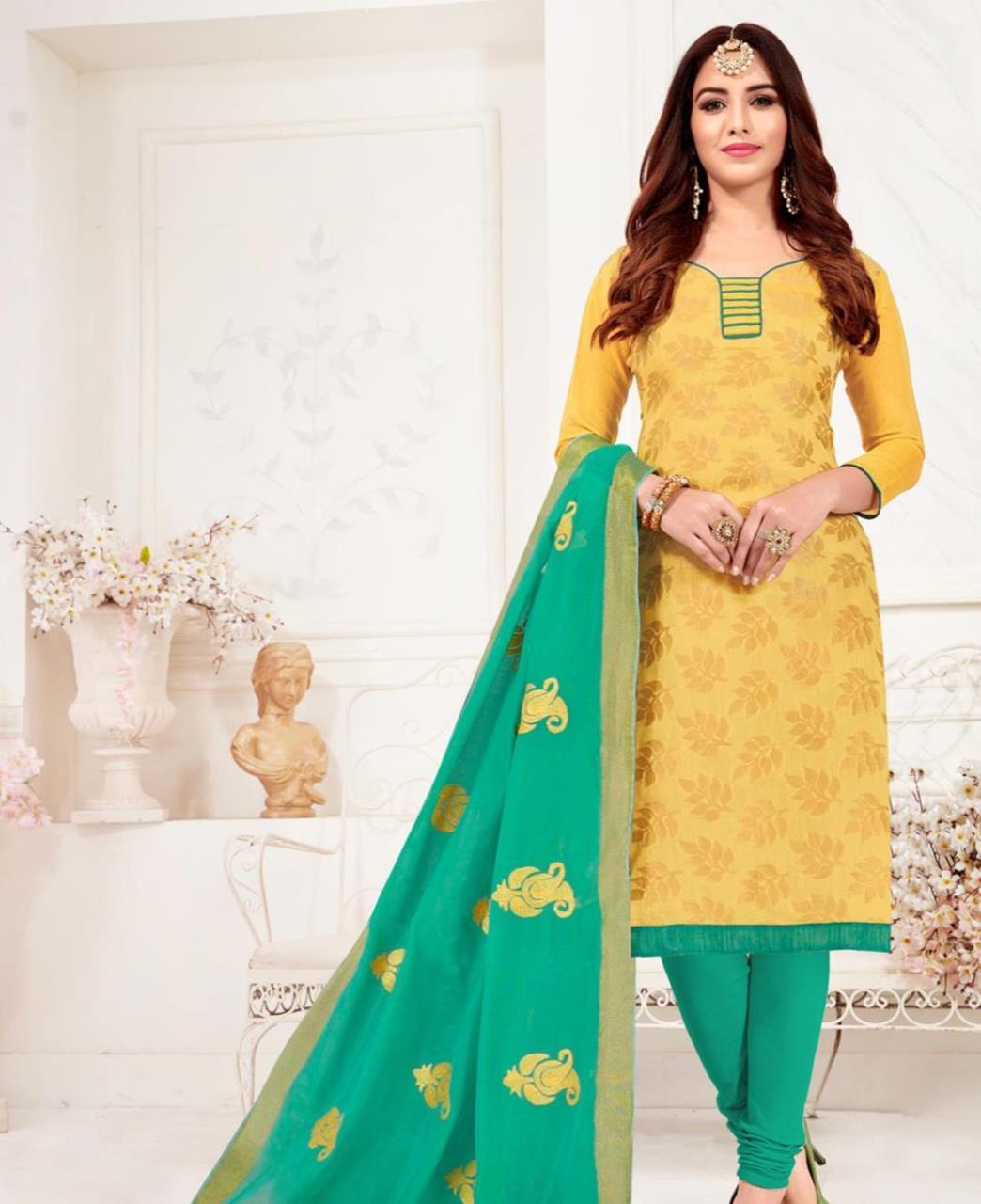 Embroidered Banarasi Silk Yellow Straight Cut Salwar