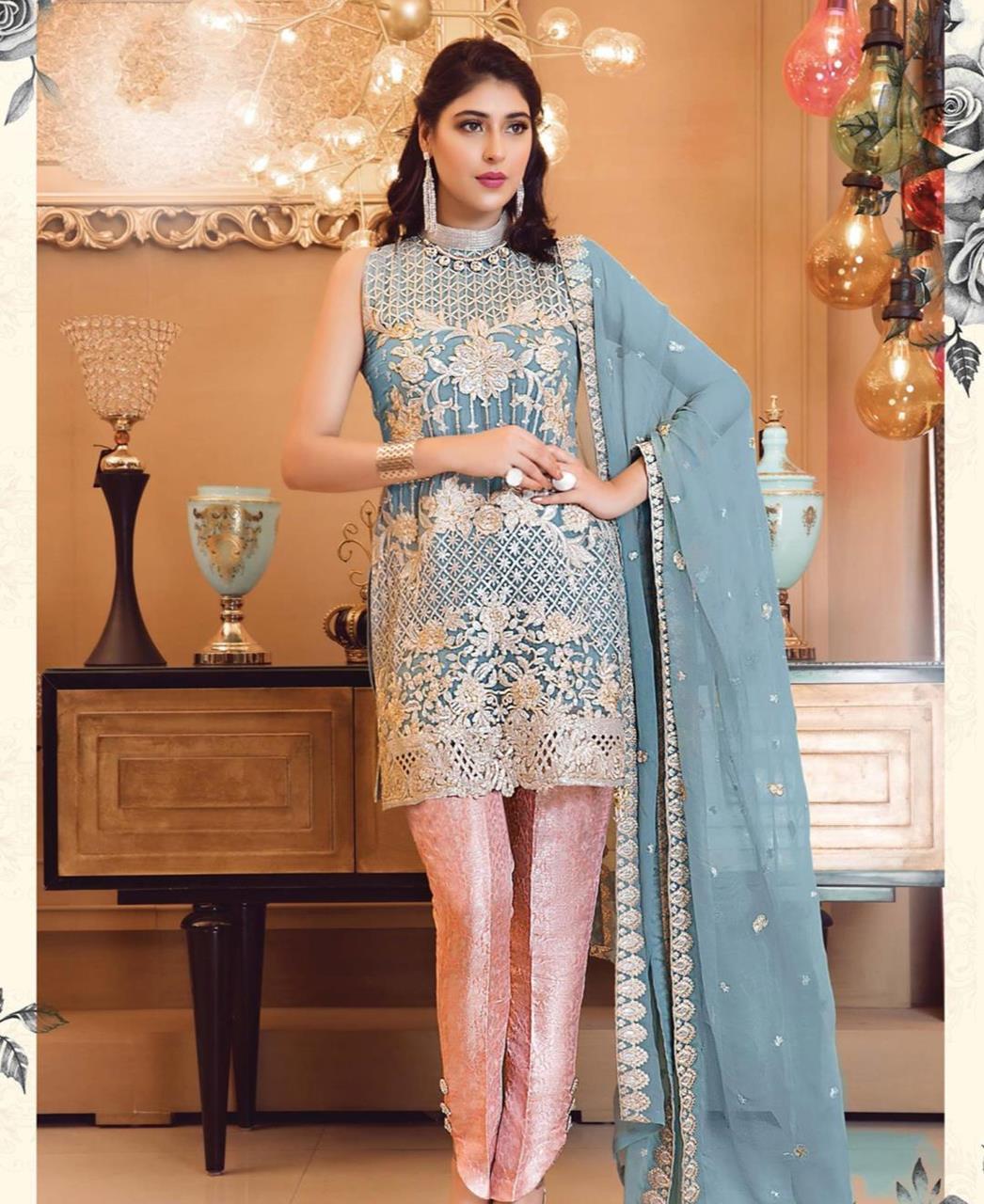 Zari Georgette Straight cut Salwar Kameez in Blue