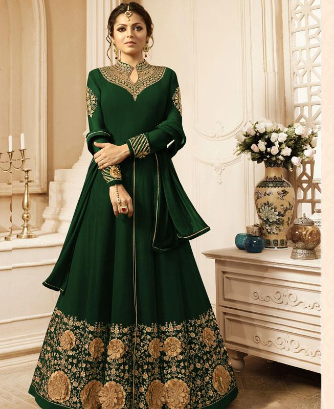 Embroidered Georgette Green Abaya Style Salwar
