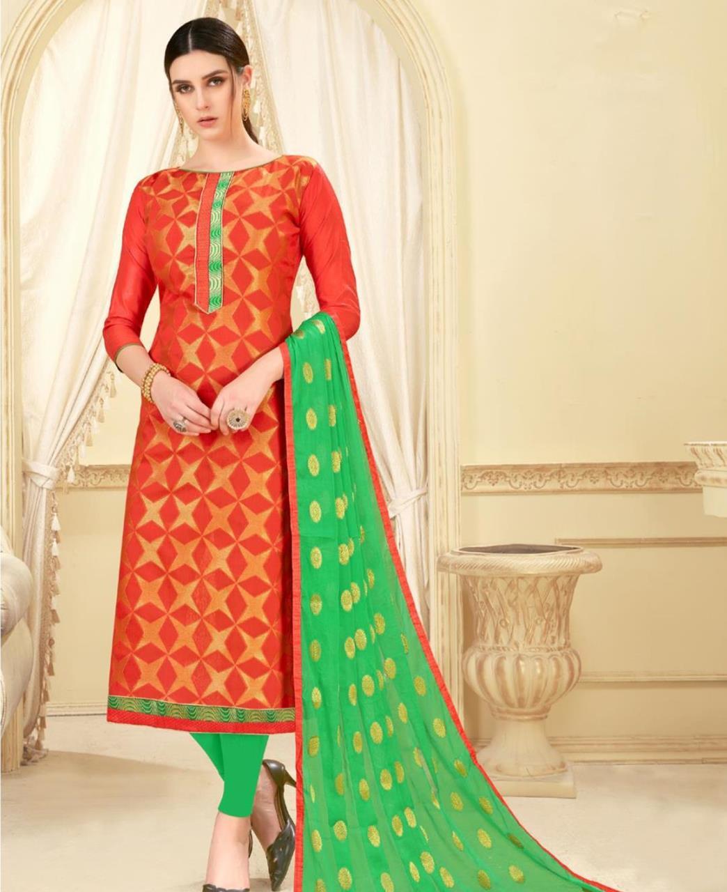 Woven Banarasi Silk PeachPuff Straight cut Salwar