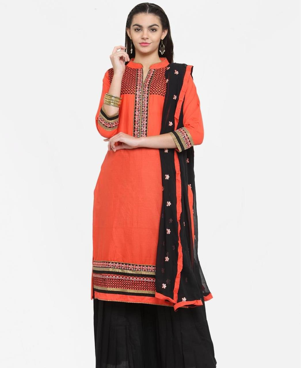 Printed Cotton Orange Palazzo Suit Salwar