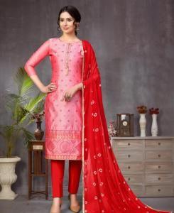 Jacquard Straight cut Salwar Kameez in Light Pink