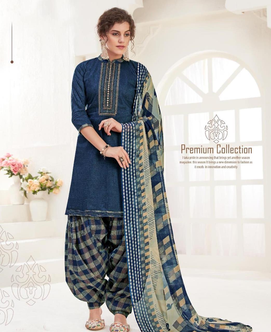 Thread Cotton Patiyala Suit Salwar in Blue
