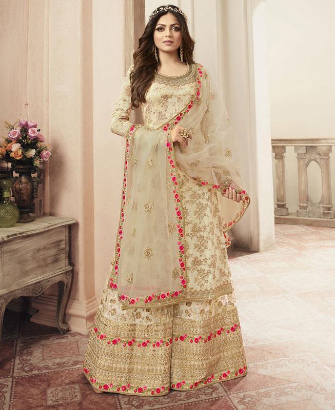 Embroidered Net Straight cut Salwar Kameez in Cream