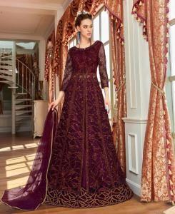 Sequins Net Abaya Style Salwar in Wine