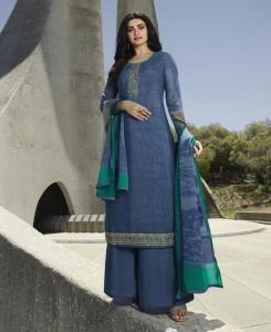 Stone Work Crepe Straight cut Salwar Kameez in Blue