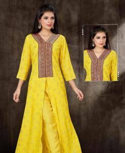Georgette Straight cut Salwar Kameez in Yellow