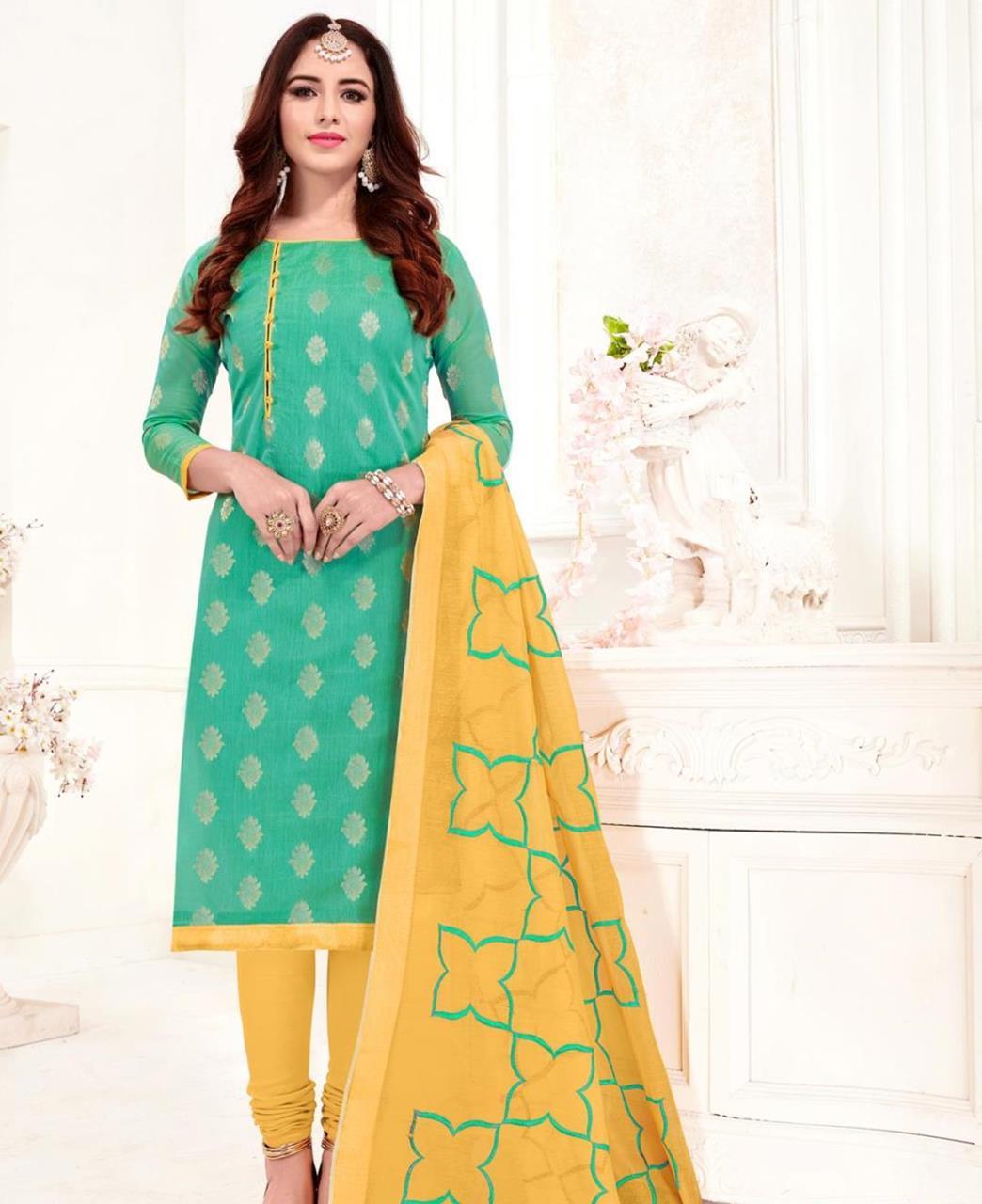 Embroidered Banarasi Silk SEAGREEN Straight Cut Salwar