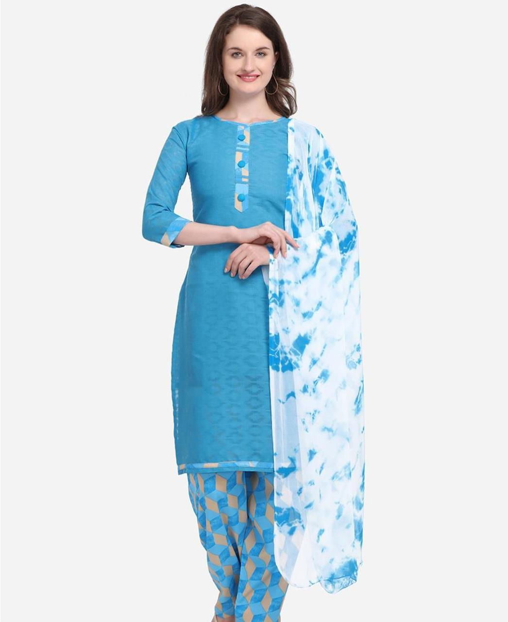 Embroidered Cotton Patiyala Suit Salwar in Sky Blue