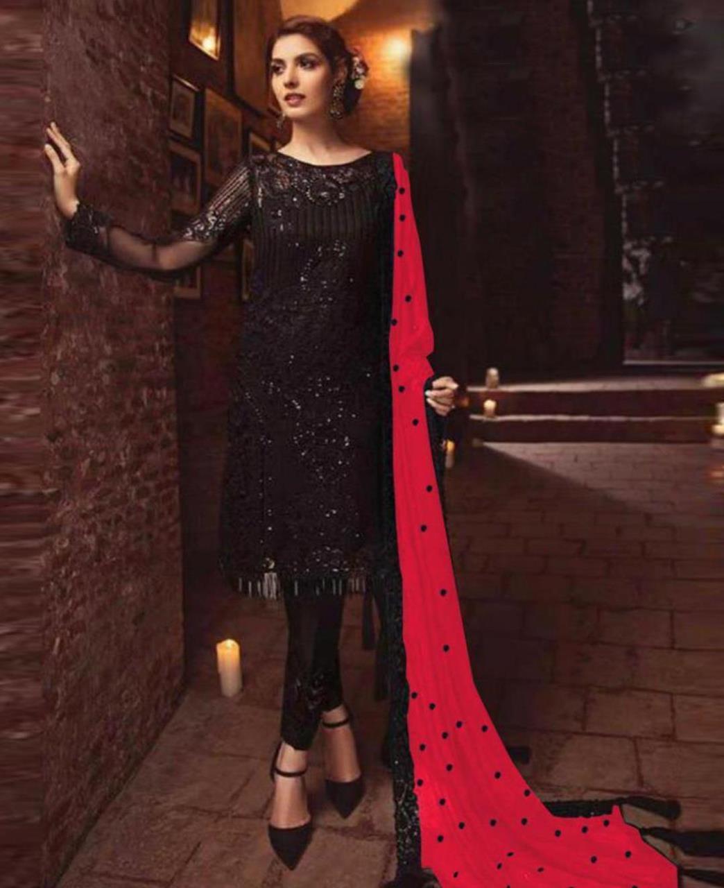 Embroidered Georgette Straight cut Salwar Kameez in Black