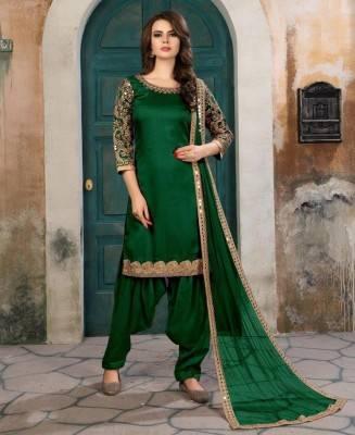Embroidered Art Silk Green Patiyala Salwar