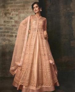 Satin Abaya Style Salwar in Peach