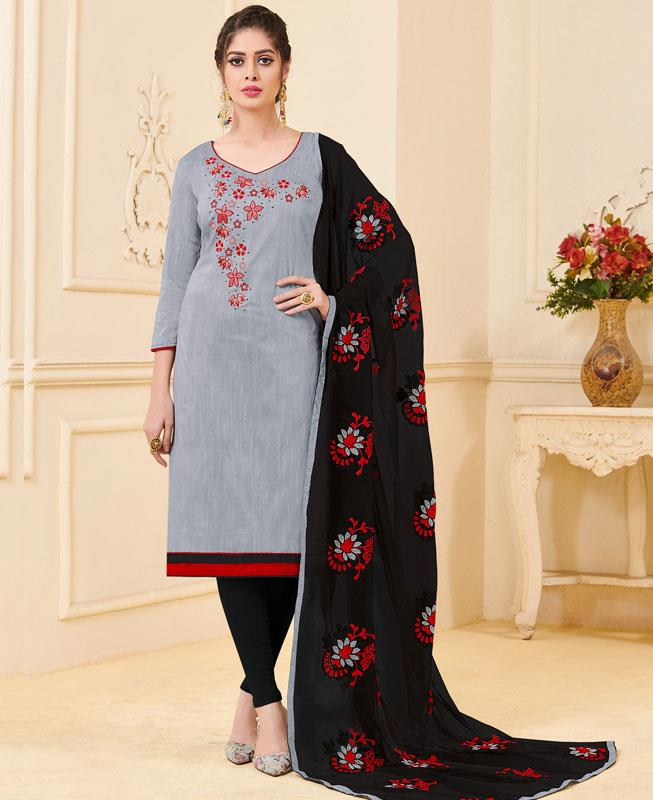 Embroidered Bangalore Silk Gray Straight cut Salwar