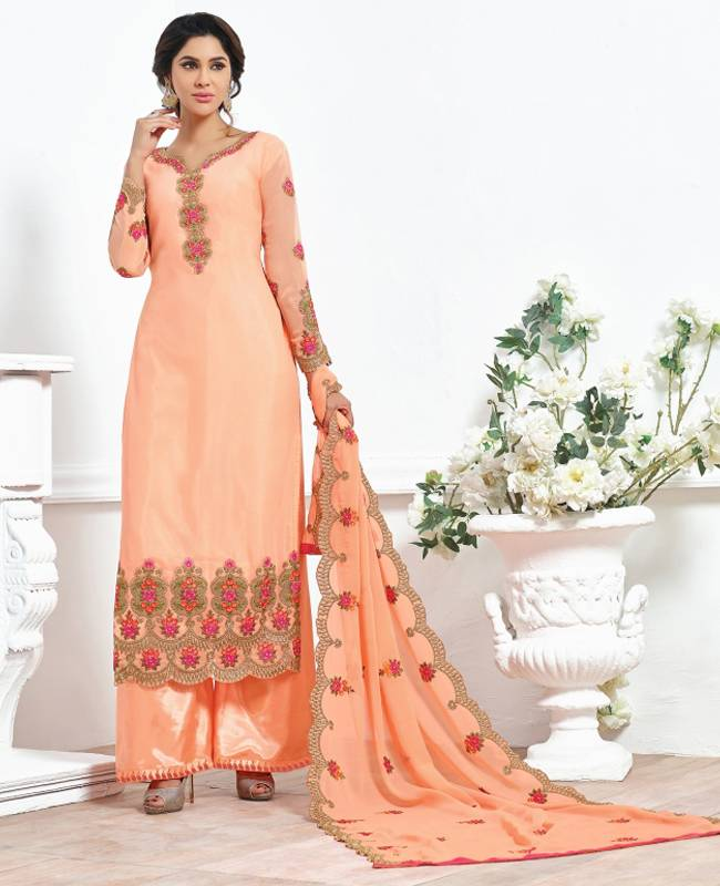 Embroidered Faux Georgette Orange Salwar Kameez Churidar