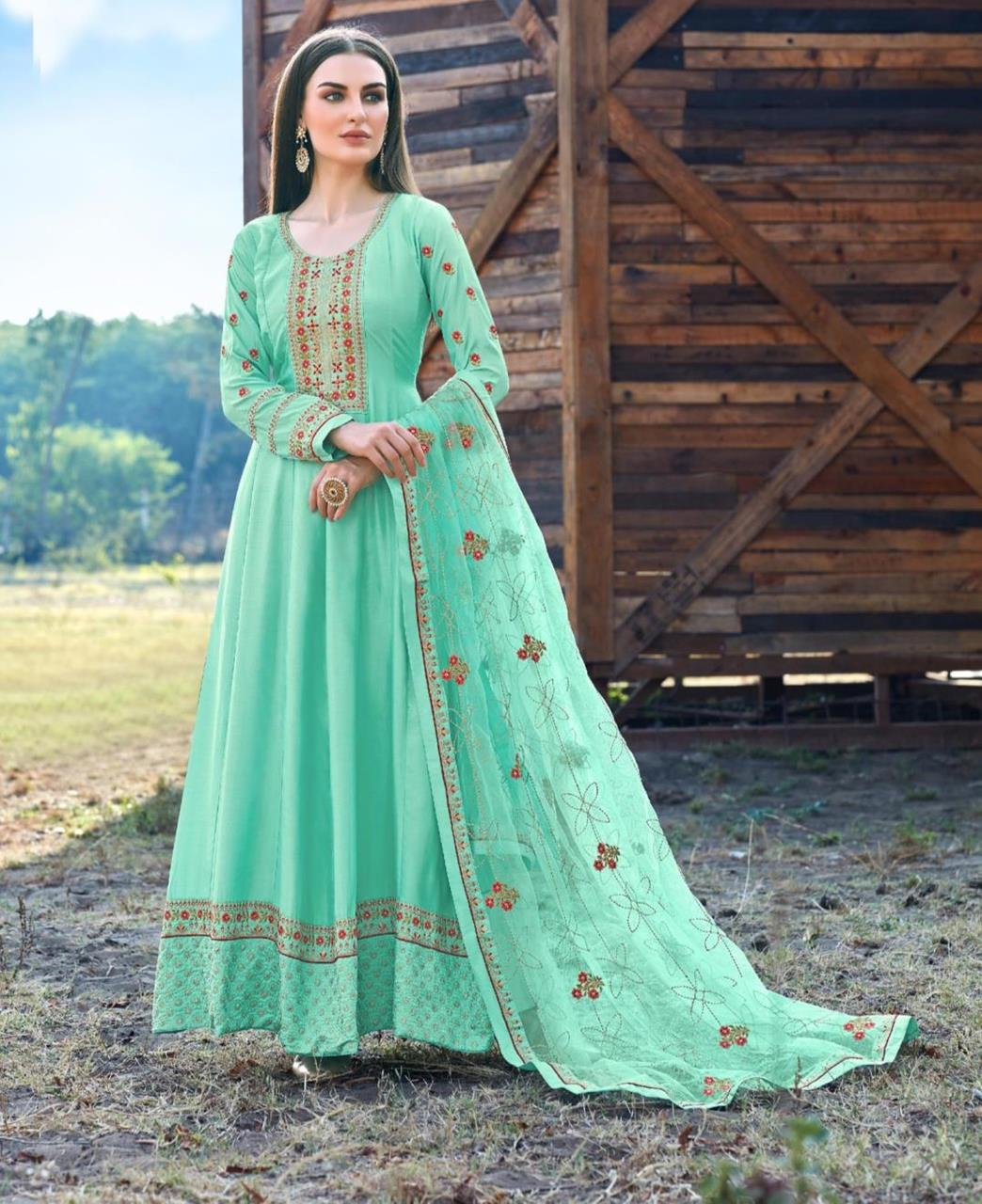 Embroidered Silk Abaya Style Salwar in Aqua
