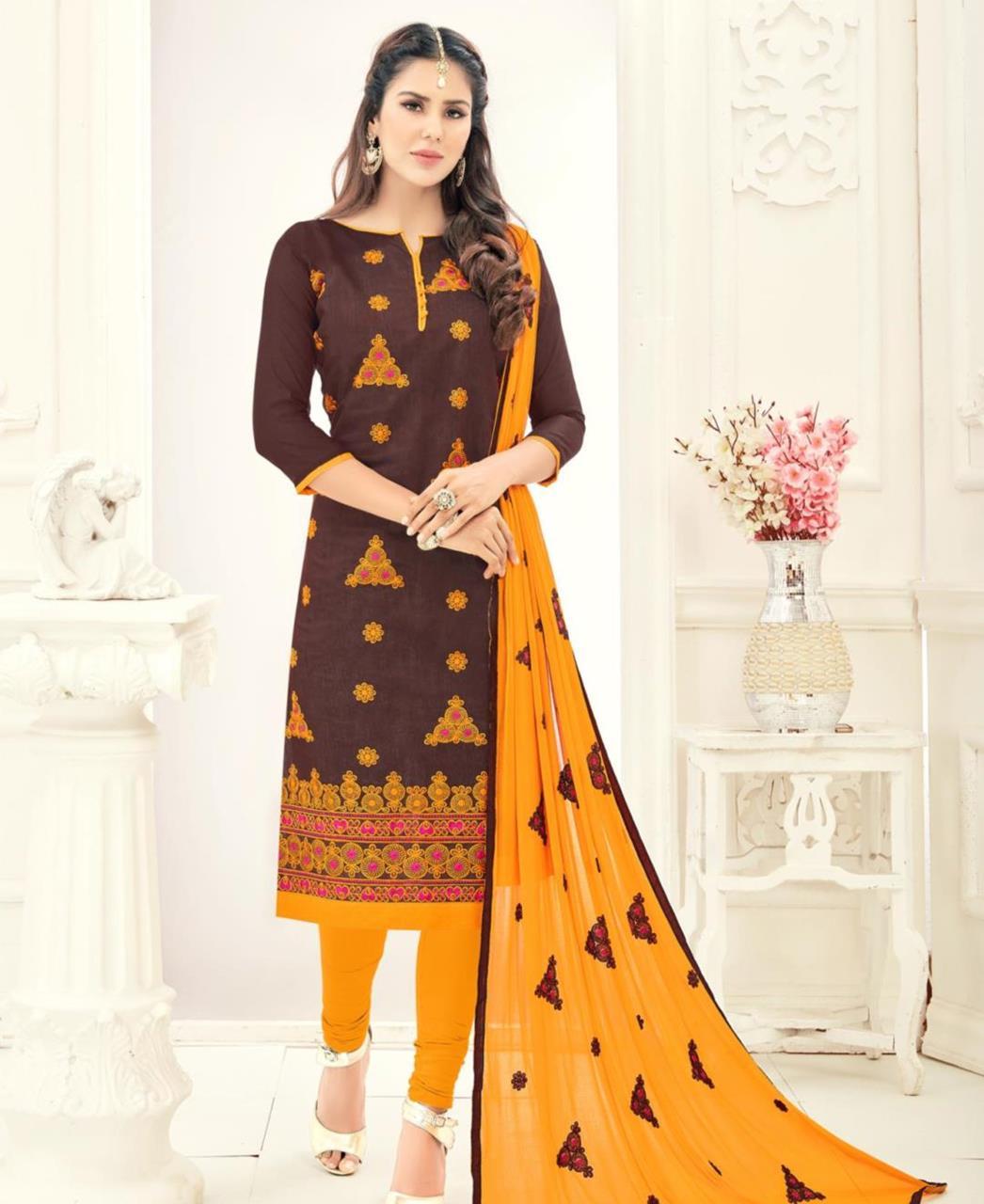 Embroidered Chanderi Brown Straight Cut Salwar Kameez