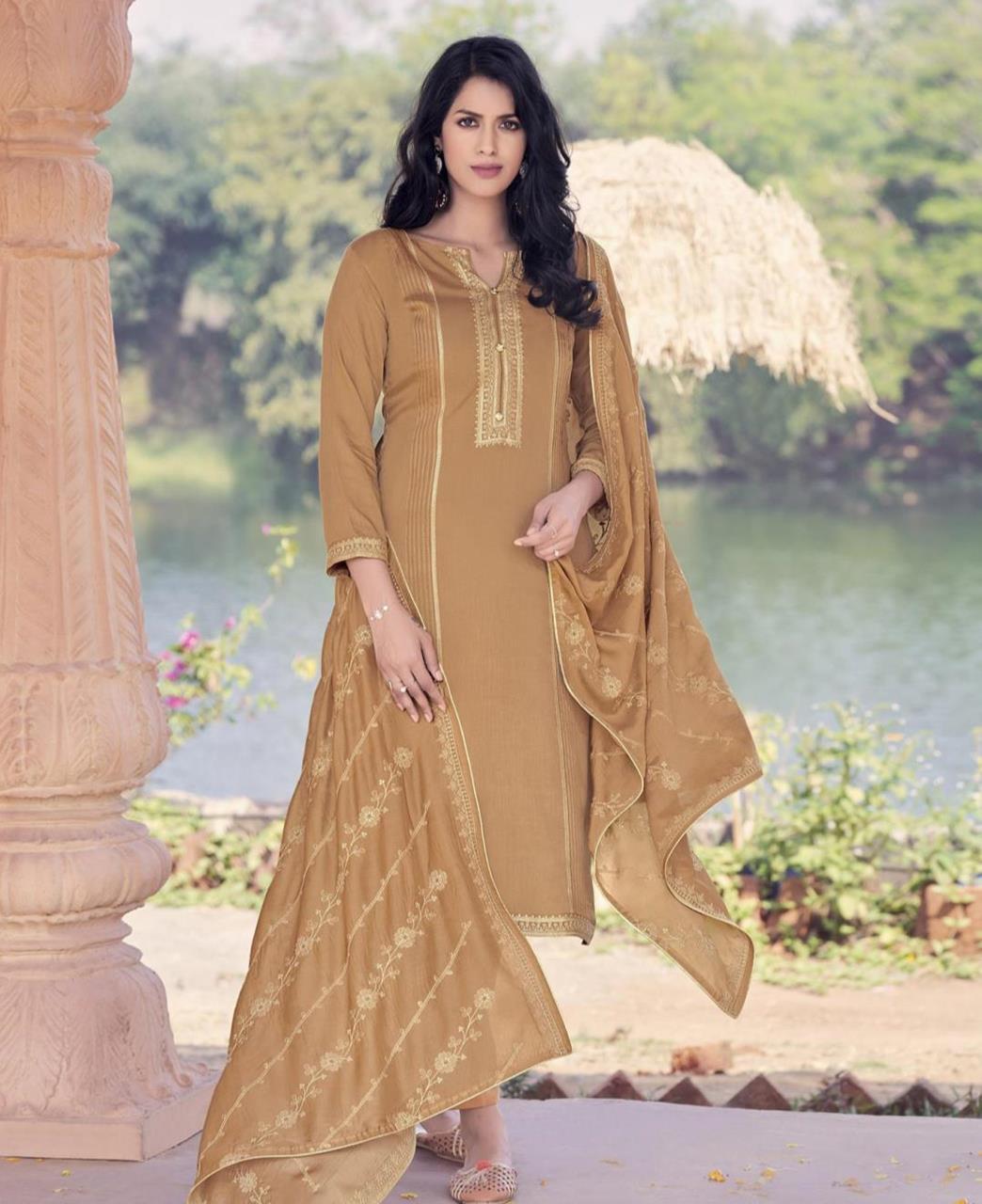 Zari Cotton Straight cut Salwar Kameez in Light Brown