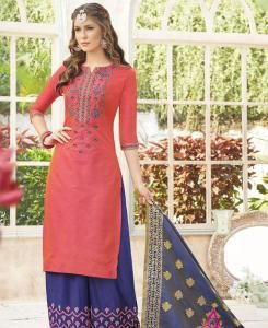 Embroidered Cotton Red Palazzo Suit Salwar