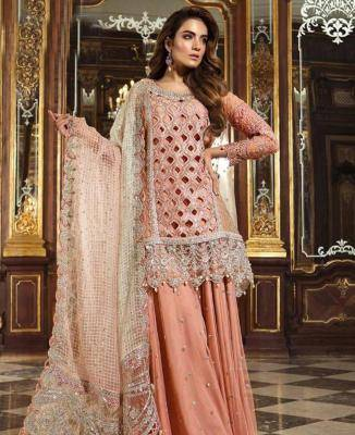 Embroidered Net PeachPuff Palazzo Suit Salwar