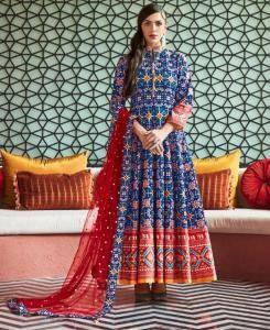 HandWorked Cotton Straight cut Salwar Kameez in Blue