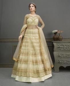 HandWorked Silk Abaya Style Salwar in Beige