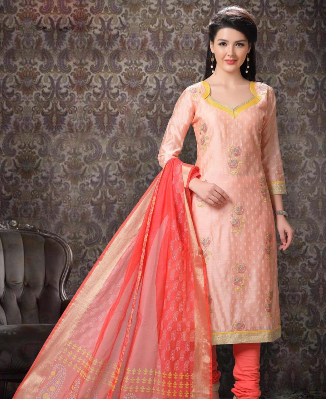 Embroidered Chanderi Silk PeachPuff Straight Cut Salwar