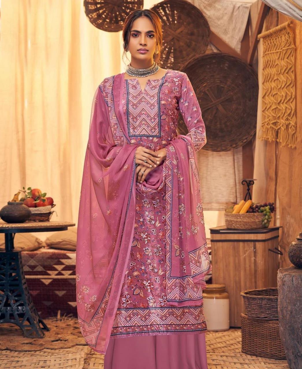Printed Velvet Straight cut Salwar Kameez in Old Rose
