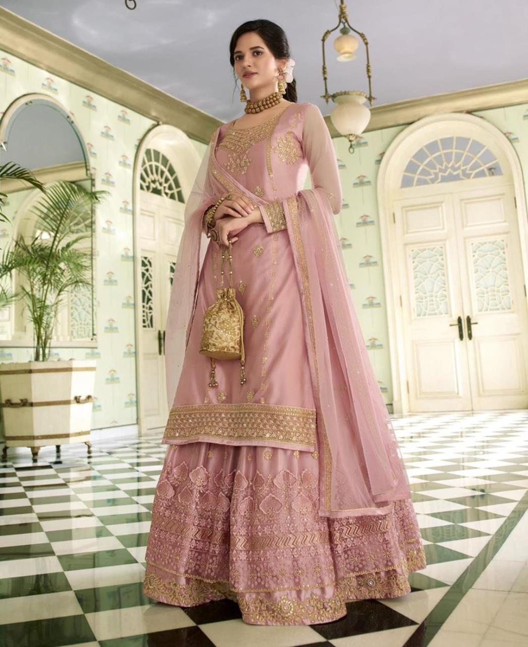 Thread Net Abaya Style Salwar in Light Peach