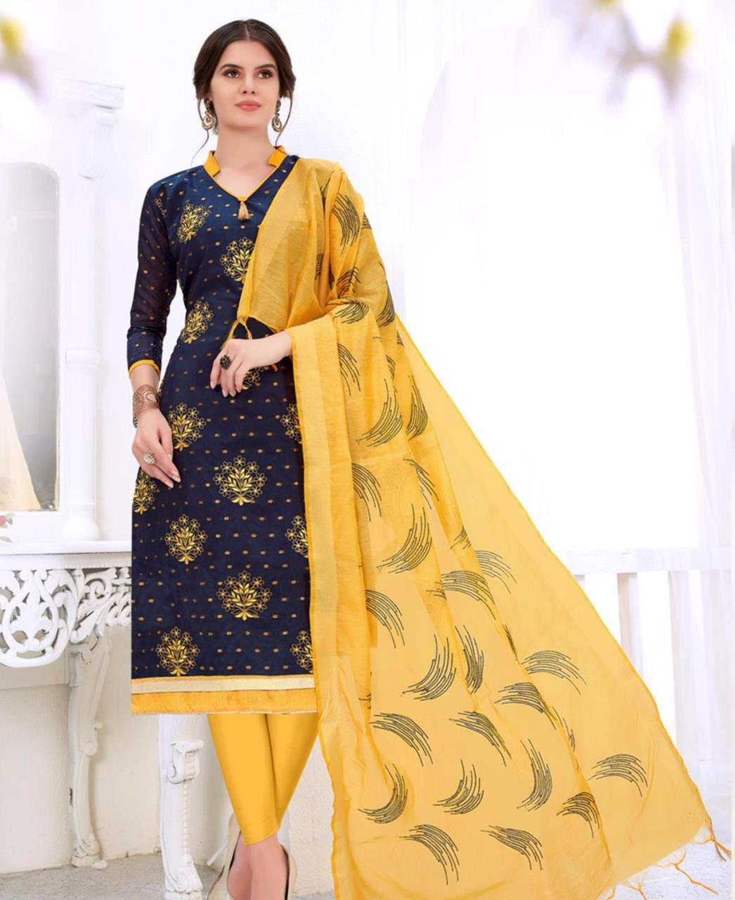 Embroidered Cotton DarkBlue Straight cut Salwar