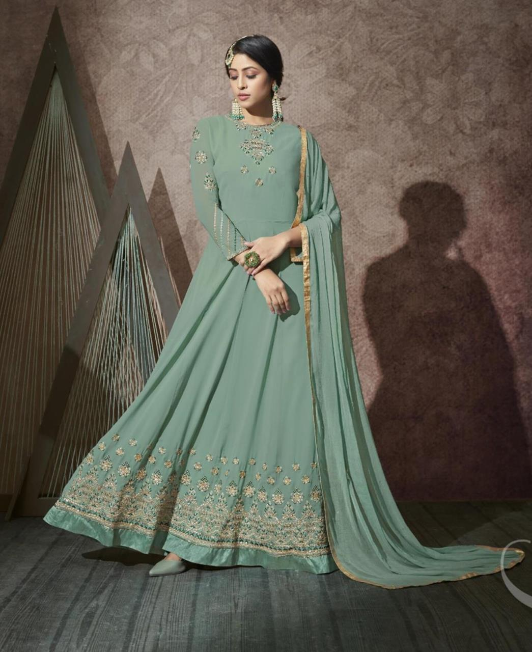 Stone Work Georgette Abaya Style Salwar in Sea Green