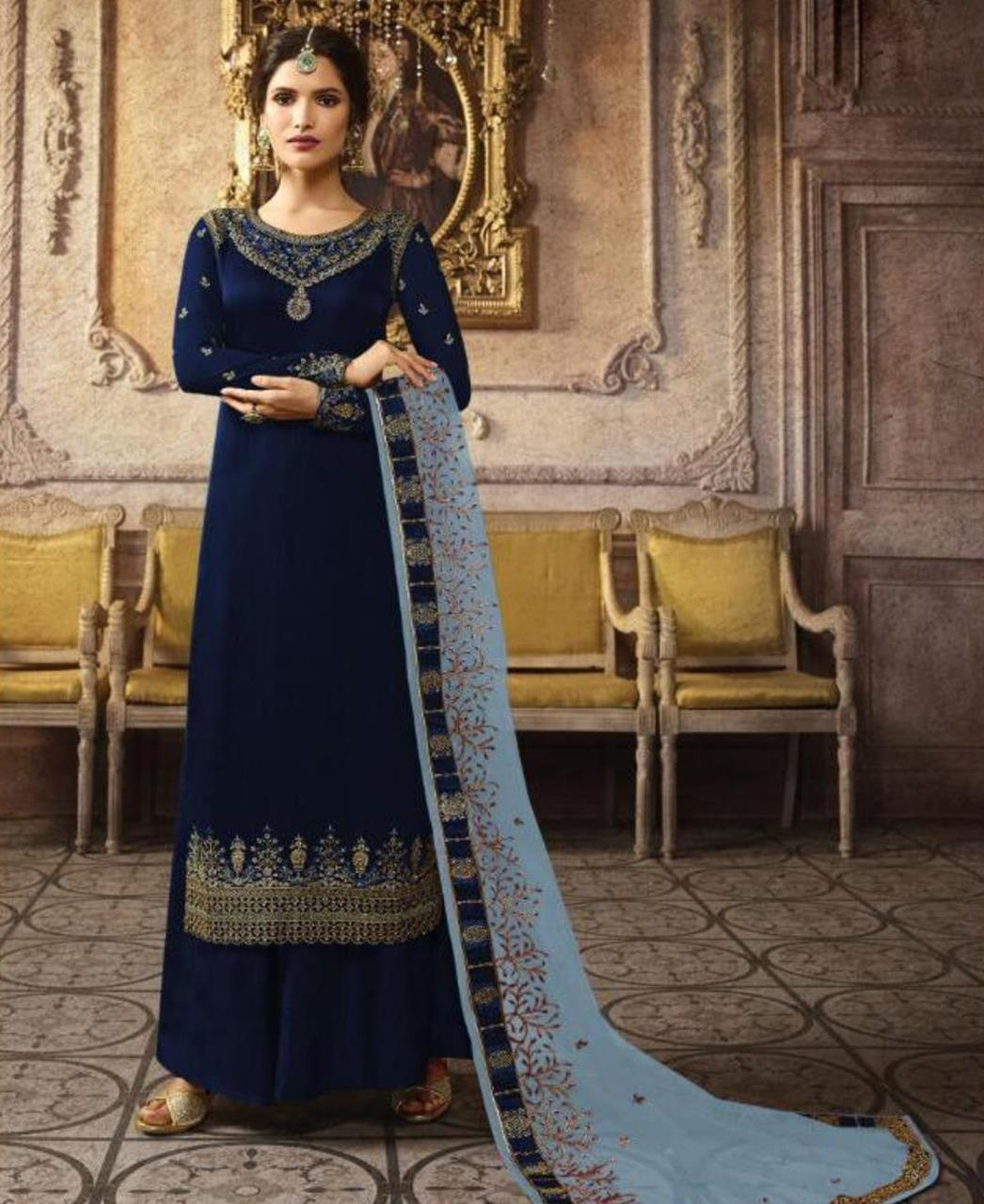 Embroidered Silk Straight cut Salwar Kameez in Neavy Blue